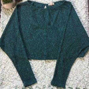 UO Turquoise Long Sleeve Keyhole Crop Top